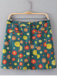 Floral Print Button Design Faux Suede Skirt - GREEN 3XL