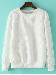 Plus Size Floral Pattern Hollow Out Sweatshirt - WHITE