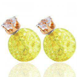Pair of Rhinestone Candy Color Balls Earrings