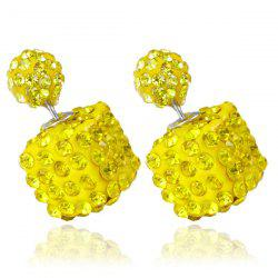 Pair of Rhinestone Square Ball Dual Earrings