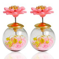 Pair of Enamel Flower Glass Ball Double end Earrings - LIGHT PINK