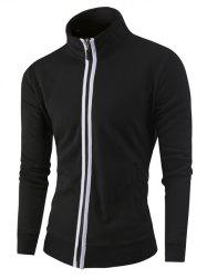 Stand Collar Zipper-Up Color Splicing Jacket -