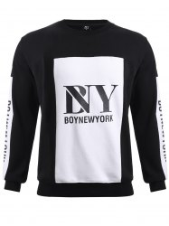 BoyNewYork Color Block Spliced Round Neck Sweatshirt