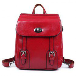 Twist-Lock Closure PU Leather Double Buckle Backpack - RED