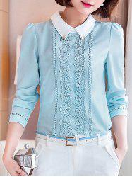 Long Sleeve Lace Floral Embroidered Chiffon Formal Shirt -