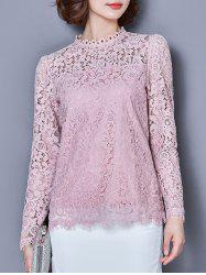 Ruffle Collar manches longues Laciness Fringe Blouse -