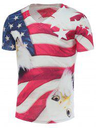 Cotton Blends 3D Eagle Star and Stripe Print V-Neck Short Sleeve T-Shirt