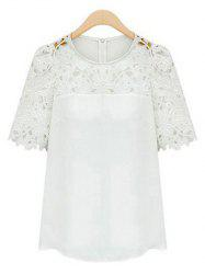Guipure Lace Splicing Openwork Blouse - WHITE