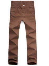 Casual Style Zipper Fly Straight Leg Chino Pants