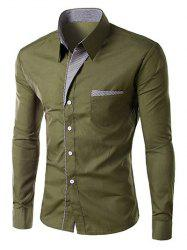 Stripe Panel Casual Long Sleeve Military Shirt - ARMY GREEN L
