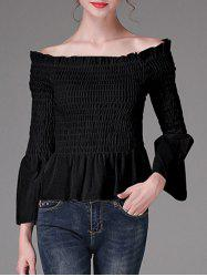 Flare Sleeves Waisted Ruched Blouse -