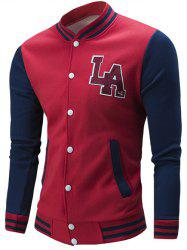 Letter Pattern Rib Spliced Color Block Baseball Jacket - RED