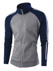 Raglan Sleeve Stand Collar Zipper-Up Striped Jacket - GRAY