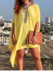 Asymmetric Tunic Loose Casual Dress - YELLOW