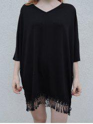 Stylish V-Neck Half Sleeve Fringed Chiffon Cover-Up For Women -