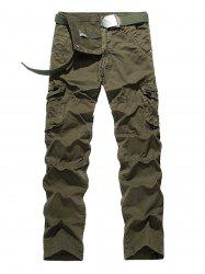 Plus Size Zipper Fly Straight Leg Pockets Design Cargo Pants