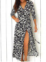 Maxi Floral Wrap Swing Dress with Sleeves