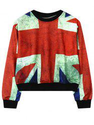Round Neck British Flag Print Sweatshirt For Women