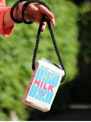 Milk Box Shape and Canvas Design Crossbody Bag -