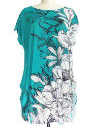 Short Sleeve Floral Print Loose-Fitting T-Shirt - WHITE AND GREEN