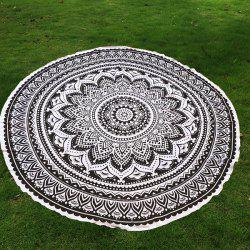 Mandala Lotus Flower Chiffon Round Beach Throw - BLACK