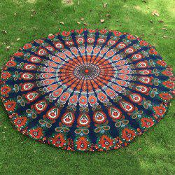 Mandala Feather Chiffon Round Beach Throw - PURPLISH BLUE
