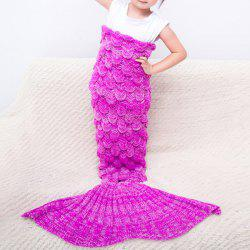 Comfortable Knitted Warmth Mermaid Blanket For Kids - ROSE RED