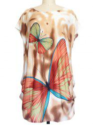 Butterfly Print Loose-Fitting T-Shirt -