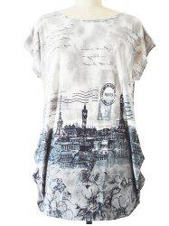 Long Ruched Loose-Fitting Stamp Print T-Shirt - GRAY ONE SIZE