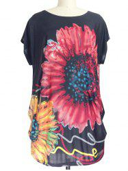 Sunflower Print Loose-Fitting T-Shirt -