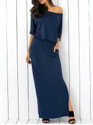 Pocket Side Slit Casual Fitted Maxi Dress - PURPLISH BLUE