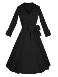 Long Sleeve Wrap Swing Midi Vintage Dress - BLACK