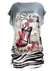 Pumps Print Loose-Fitting T-Shirt - GRAY