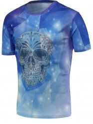 Fashion 3D Skull Print Round Neck Trippy T-shirt - BLUE