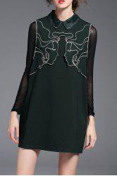 Sleeveless Flat Collar Embroidered Dress -