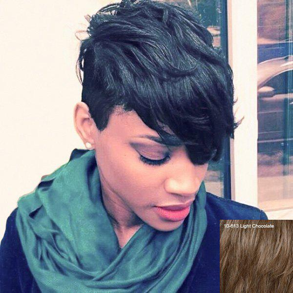 Shop Short Fluffy Pixie Cut Oblique Bang Straight Real Natural Hair Wig