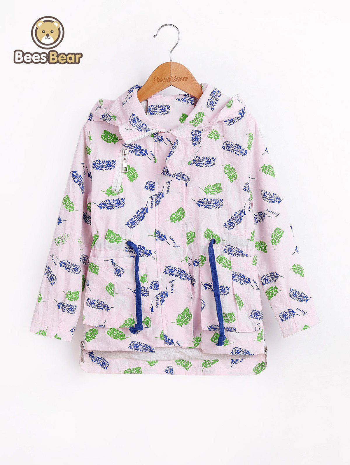 Chic Drawstring High Low Leaf Print Hooded Jacket