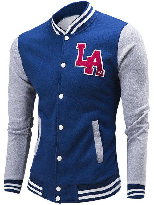 Letter Pattern Rib Spliced Color Block Baseball Jacket 193358720