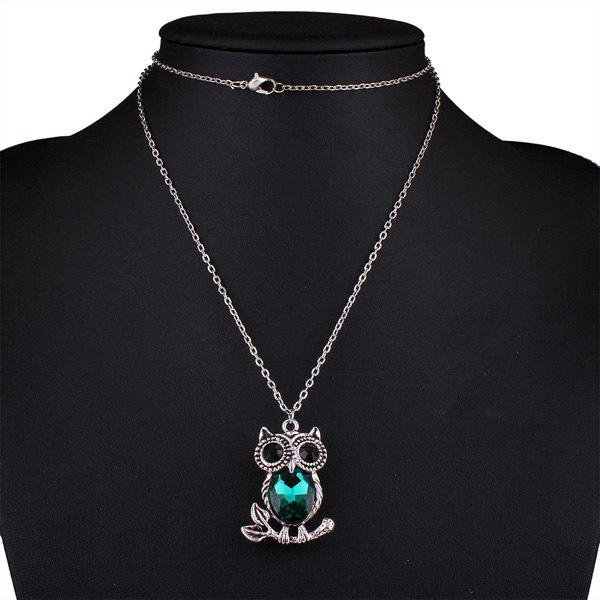 Owl Rhinestone Sweater ChainJEWELRY<br><br>Color: BLACKISH GREEN; Gender: For Women; Necklace Type: Link Chain; Material: Rhinestone; Metal Type: Silver Plated; Style: Trendy; Shape/Pattern: Animal; Weight: 0.030kg; Package Contents: 1 x Sweater Chain;