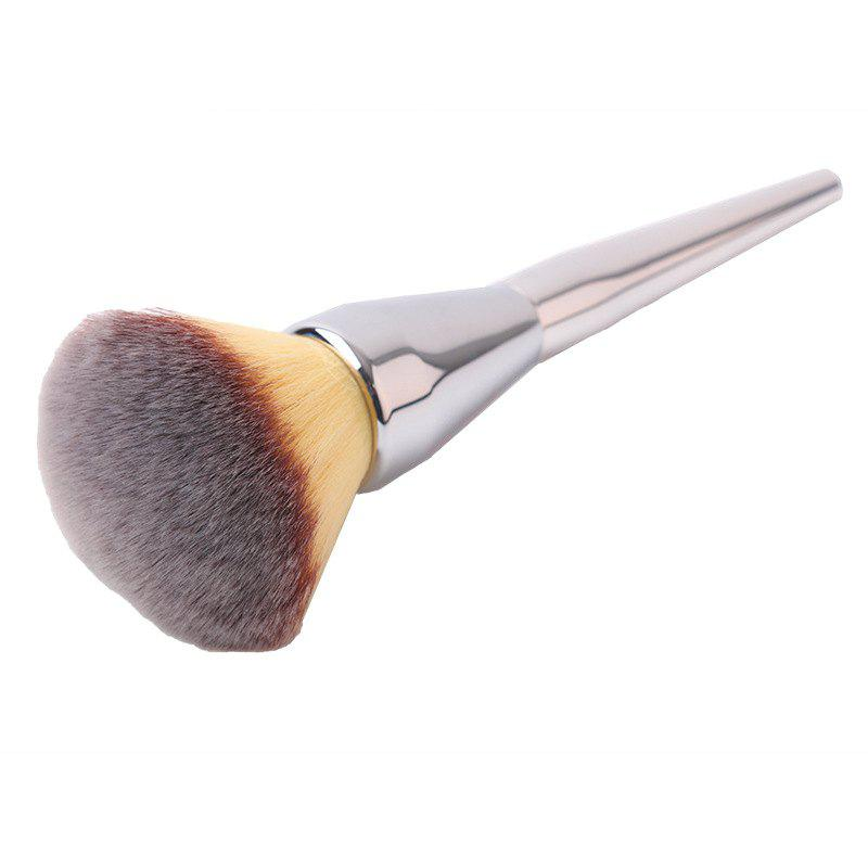 Plating Handle Nylon Powder BrushBEAUTY<br><br>Color: SILVER; Category: Powder Brush; Brush Hair Material: Nylon; Features: Limits Bacteria; Season: Fall,Spring,Summer,Winter; Length: 20cm; Weight: 0.060kg; Package Contents: 1 x Brush;