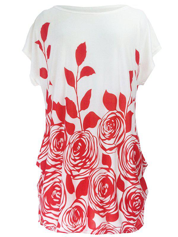 Abstract Floral Print Ruched Loose-Fitting Casual T-ShirtWOMEN<br><br>Size: ONE SIZE; Color: RED; Material: Polyester; Shirt Length: Long; Sleeve Length: Short; Collar: Round Neck; Style: Casual; Season: Summer; Pattern Type: Floral; Weight: 0.190kg; Package Contents: 1 x T-Shirt;