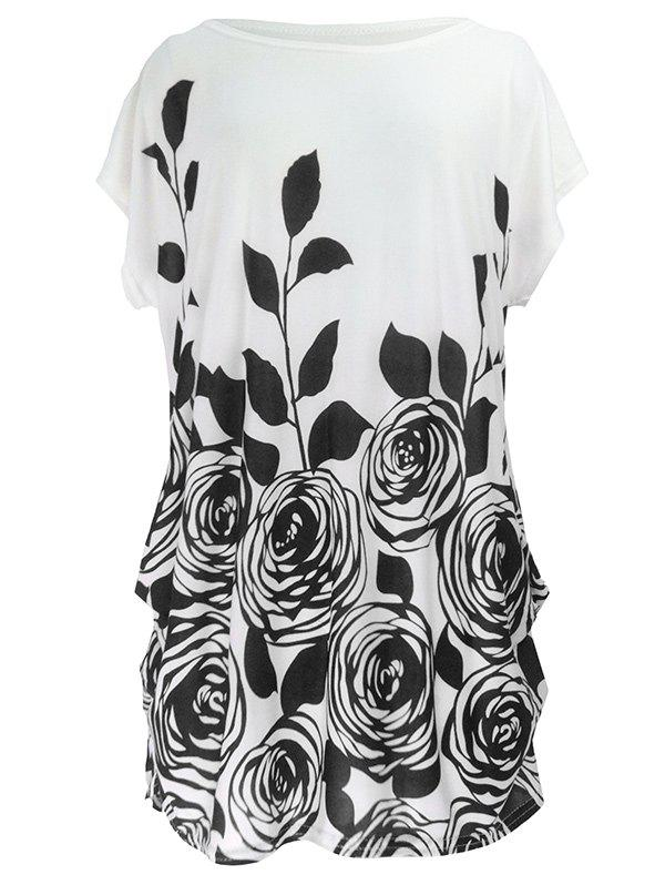 Abstract Floral Print Ruched Loose-Fitting Casual T-ShirtWOMEN<br><br>Size: ONE SIZE; Color: BLACK; Material: Polyester; Shirt Length: Long; Sleeve Length: Short; Collar: Round Neck; Style: Casual; Season: Summer; Pattern Type: Floral; Weight: 0.190kg; Package Contents: 1 x T-Shirt;