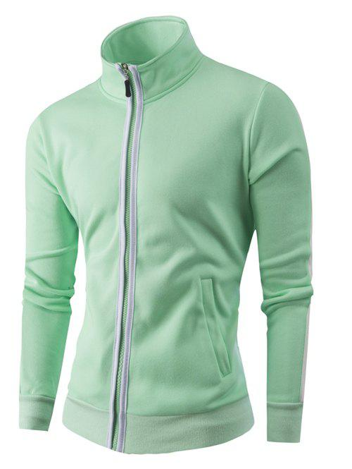 Latest Stand Collar Zipper-Up Color Splicing Jacket