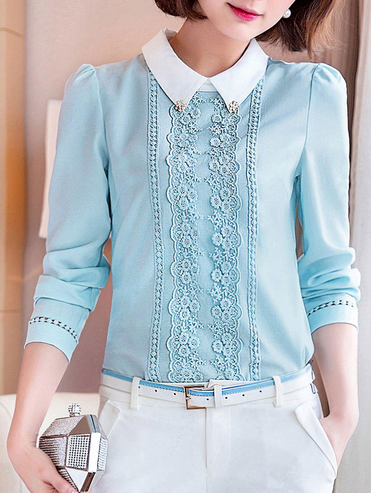 Cheap Long Sleeve Lace Floral Embroidered Chiffon Formal Shirt