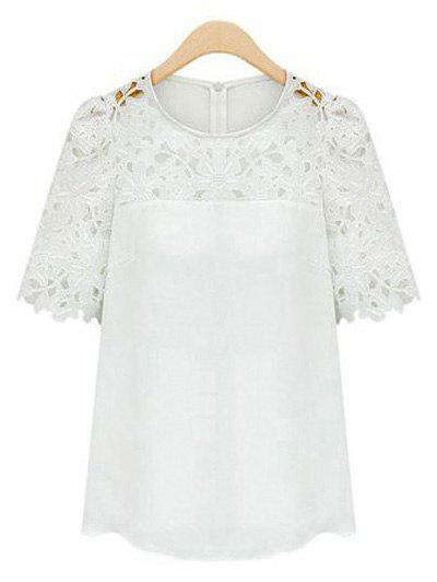 Guipure Lace Splicing Openwork BlouseWOMEN<br><br>Size: 4XL; Color: WHITE; Material: Lace,Polyester; Shirt Length: Regular; Sleeve Length: Short; Collar: Round Neck; Style: Fashion; Season: Summer; Embellishment: Lace; Pattern Type: Solid; Weight: 0.162kg; Package Contents: 1 x Blouse;