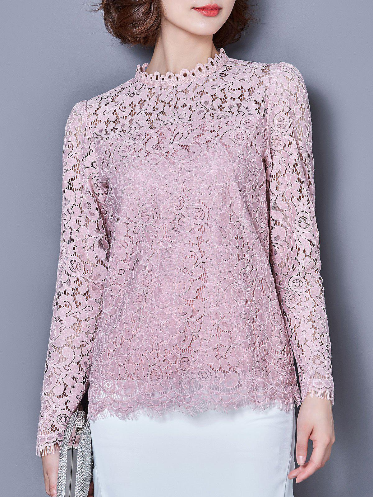 Ruffle Collar manches longues Laciness Fringe Blouse