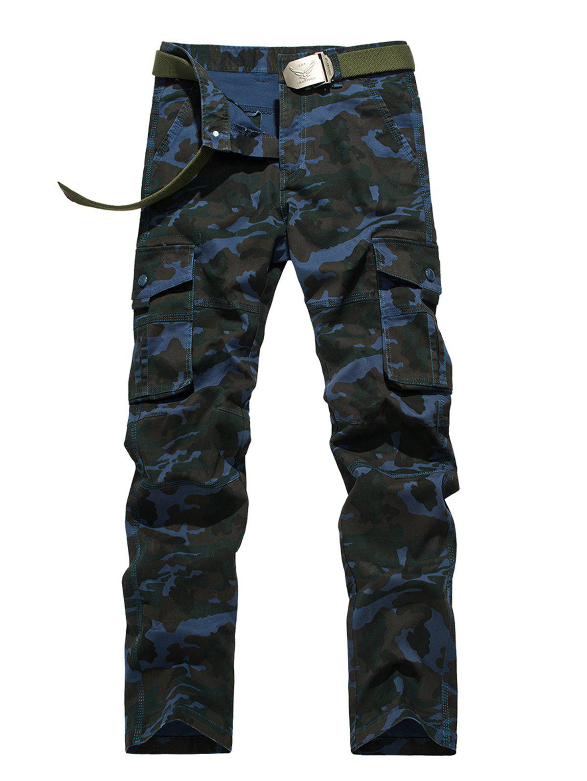 Latest Plus Size Zipper Fly Straight Leg Pockets Embellished Camouflage Cargo Pants