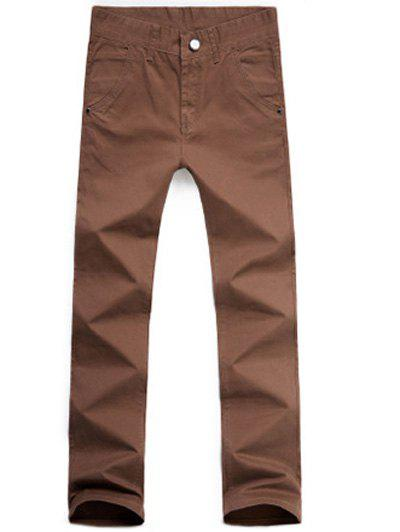Online Casual Style Zipper Fly Straight Leg Chino Pants