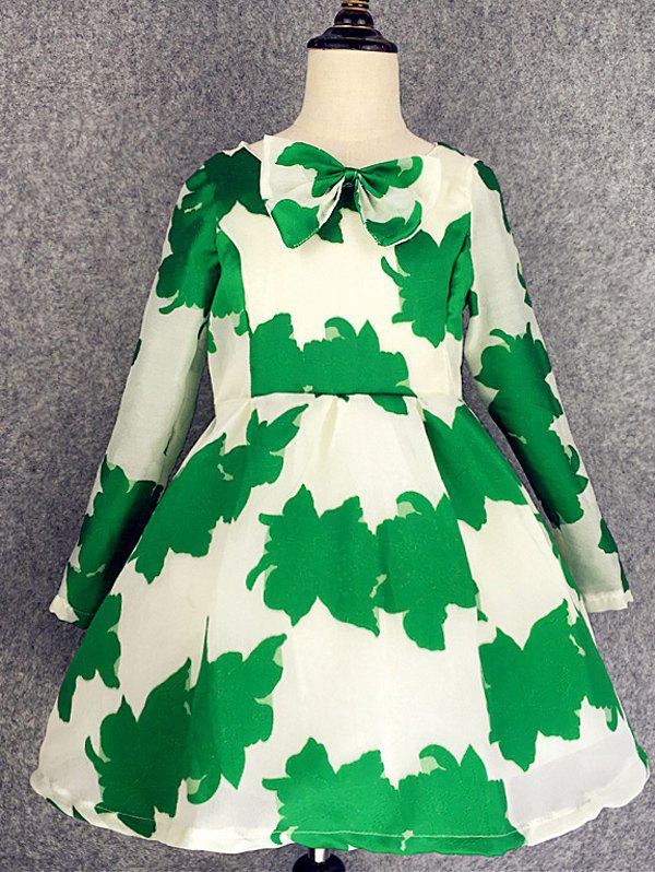 Shop Long Sleeve Bowknot Design Leaf Print Dress