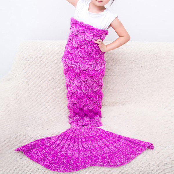 Comfortable Knitted Warmth Mermaid Blanket For KidsHOME<br><br>Color: ROSE RED; Type: Knitted; Material: Linen/Cotton; Pattern Type: Stripe; Size(L*W)(CM): 140*70; Weight: 0.490kg; Package Contents: 1 x Blanket;